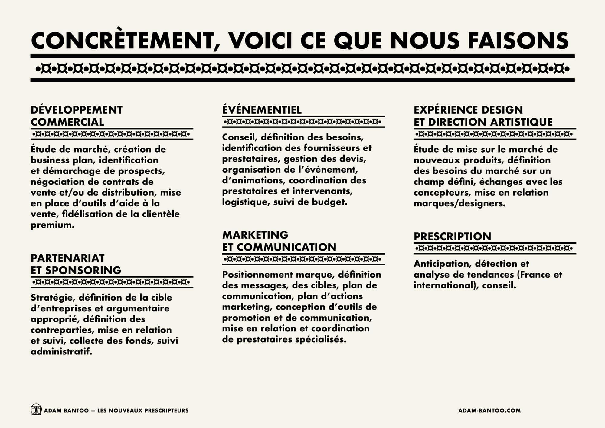 Page de présentation des domaines de compétences de l'agence Adam Bantoo, design de l'identité Afro Ascii IchetKar