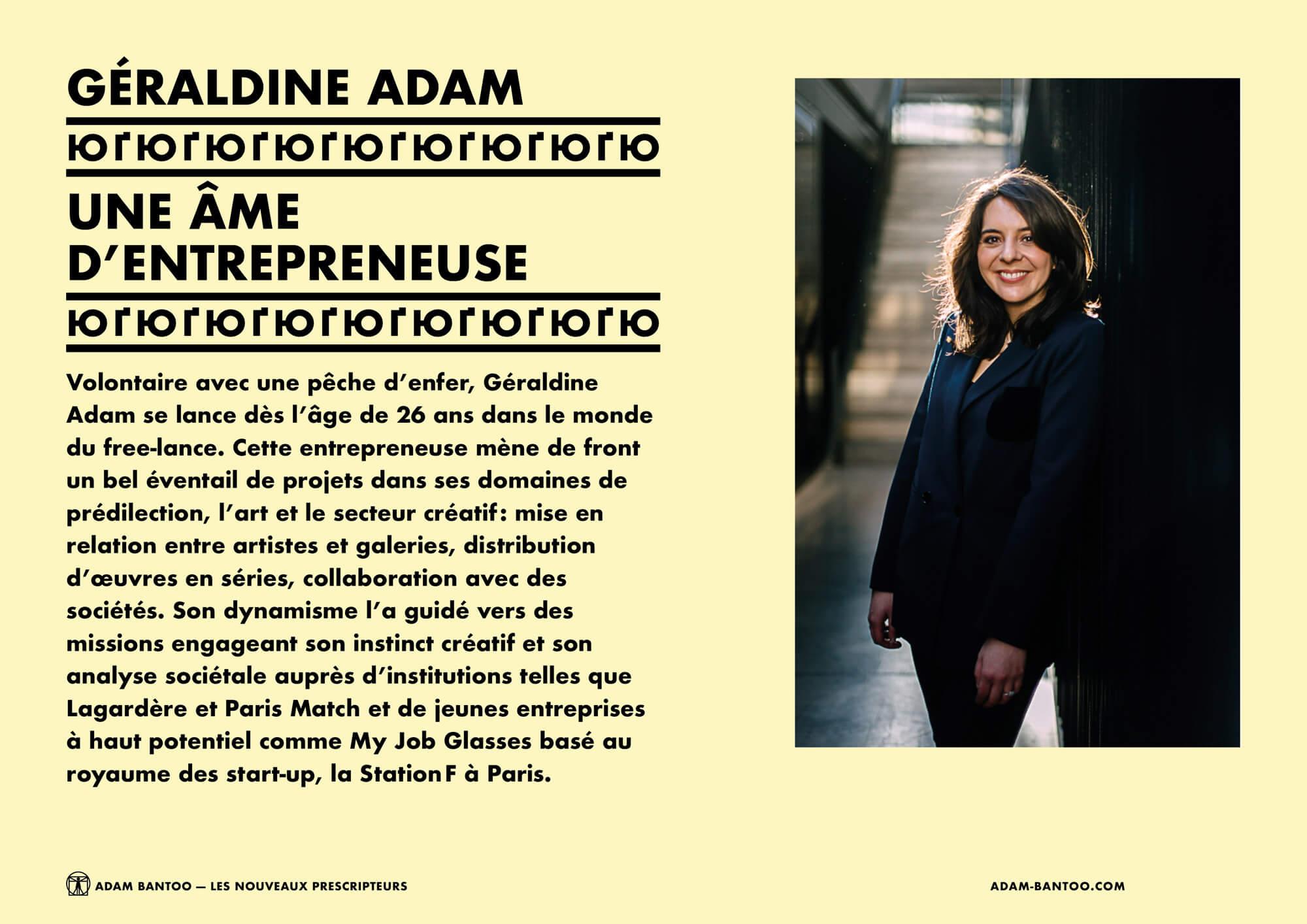 Présentation de Géraldine Adam, co-fondatrice de l'agence Adam Bantoo, maquette et mise en page IchetKar