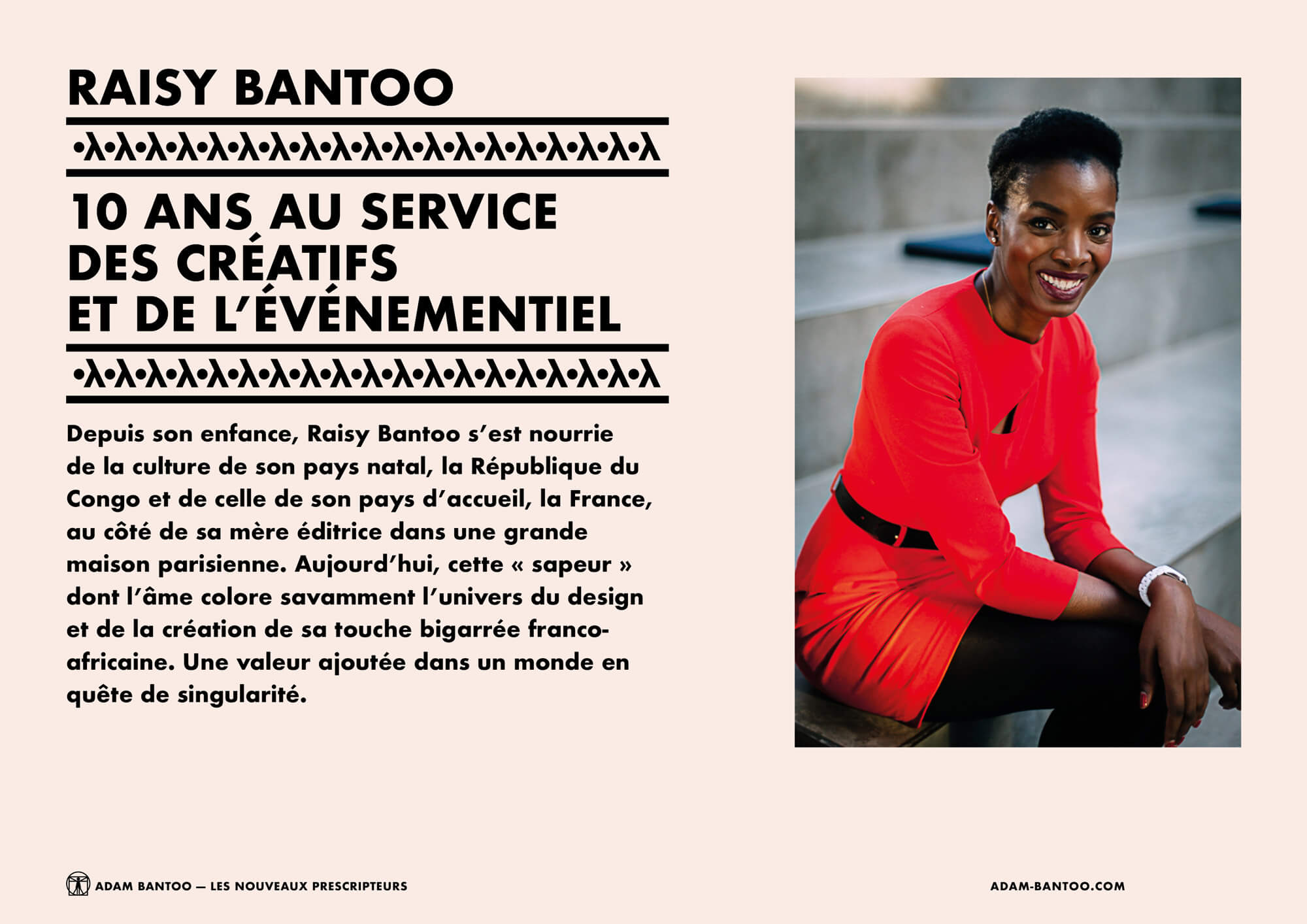 Présentation de Raisy Bantoo, co-fondatrice de l'agence Adam Bantoo, maquette et identité visuelle afro ascii IchetKar