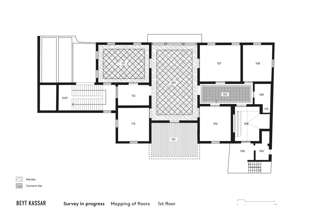 BEYT-KASSAR_survey-in-progress_mapping-of-floors_1st-floor