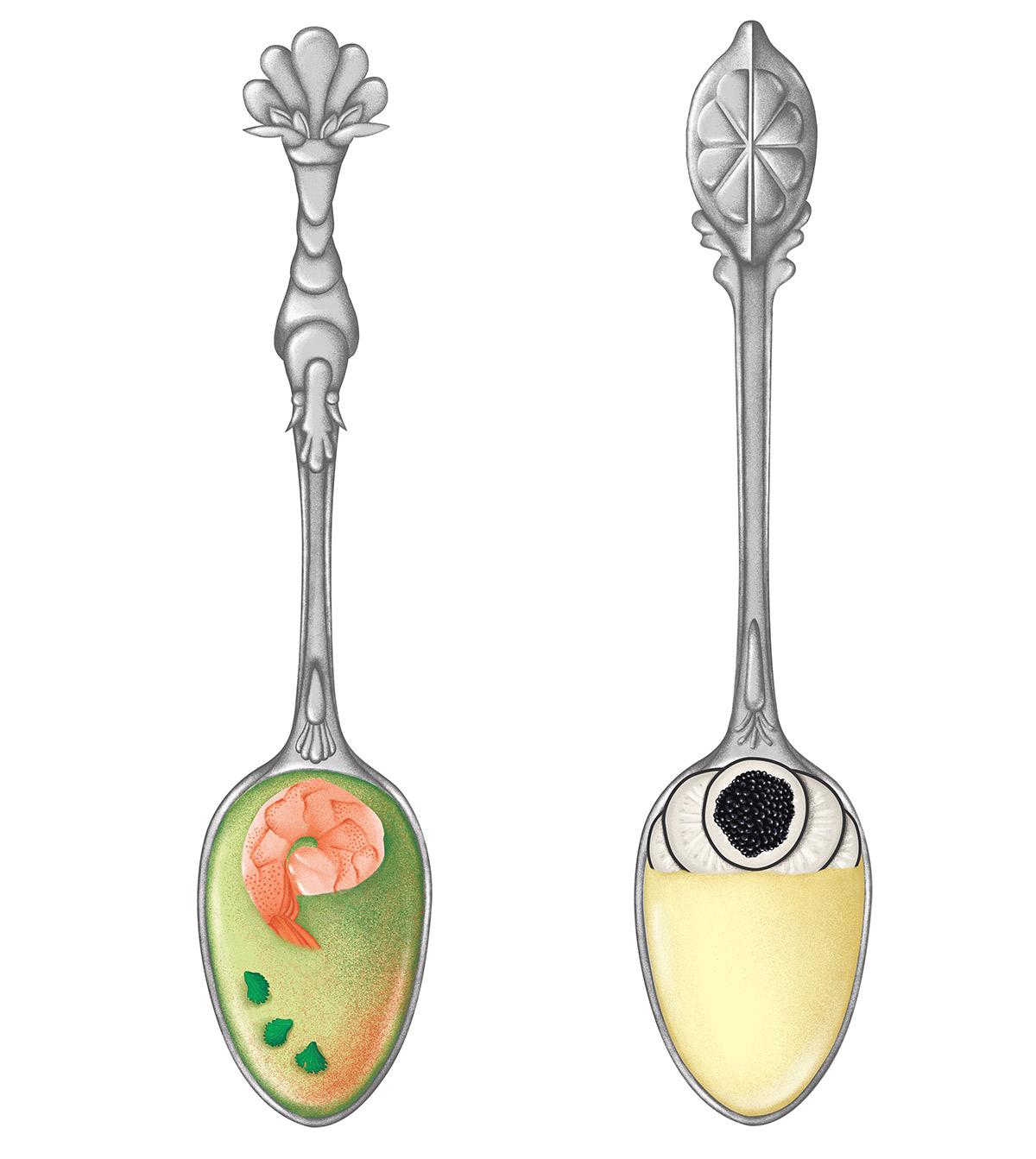 illustration réaliste de cuillères en argent ornées d'une crevette et d'un citron par ichetkar recettes au yaourt