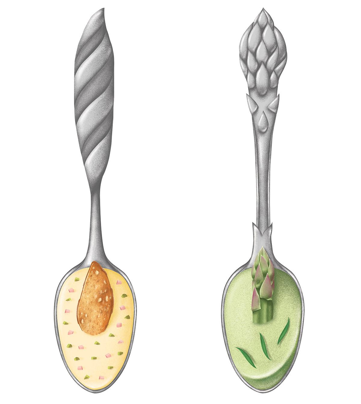 illustration réaliste de cuillères en argent ornées d'une asperge et d'une baguette de pain par ichetkar recettes au yaourt