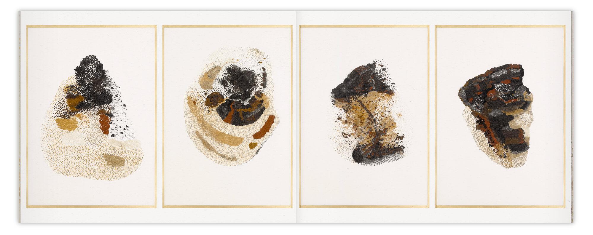 Daniela Busarello présente 4 gazes très grands formats pour son exposition que l'on retrouve dans son livre designé par IchetKar
