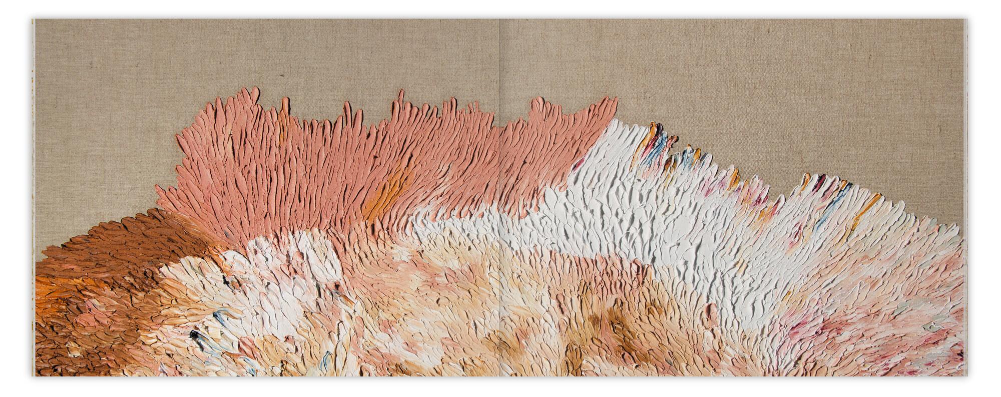 Détail d'une peinture sur toile de l'artiste Daniela Busarello, la reluire layflat decidée par IchetKar permet une vision à plat de la double page.