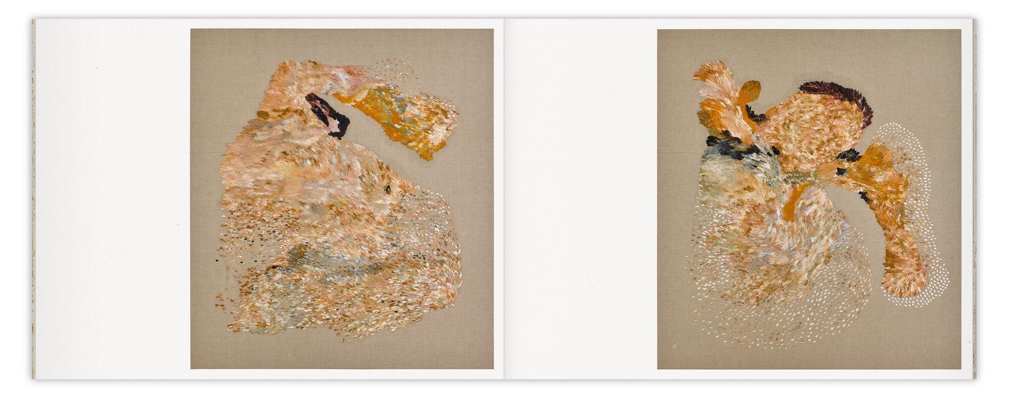 Double page de deux toiles peintes par Daniela Busarello