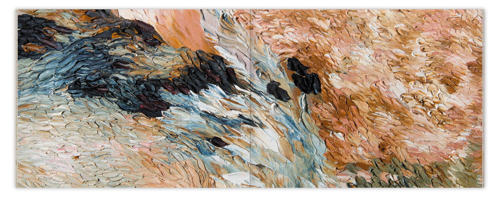 Double page de matière, détails d'une peinture de Daniela Busarello, design IchetKar