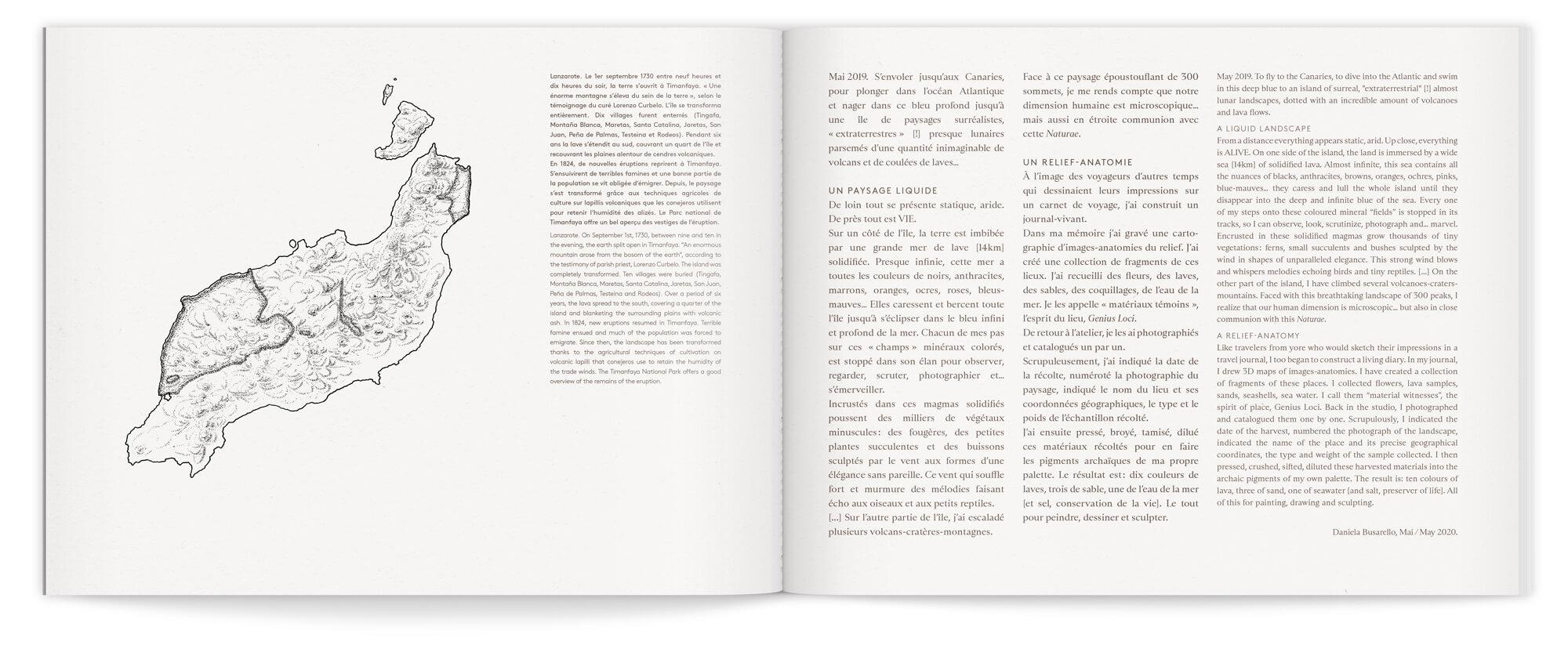 Introduction du livre sur les voyage de Daniela busarello sur l'ile de Lanzarote, design Ichetkar