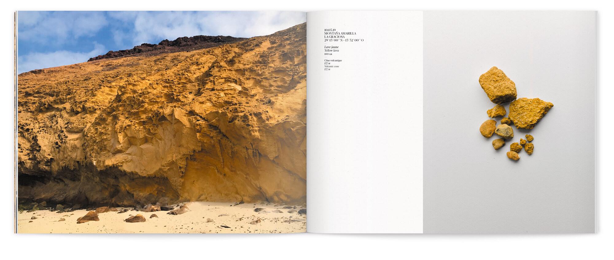 Paysage volcanique et extrait de roche, le voyage de Daniela Busarello sur l'Ile de Lanzarote, design Helena Ichbiah