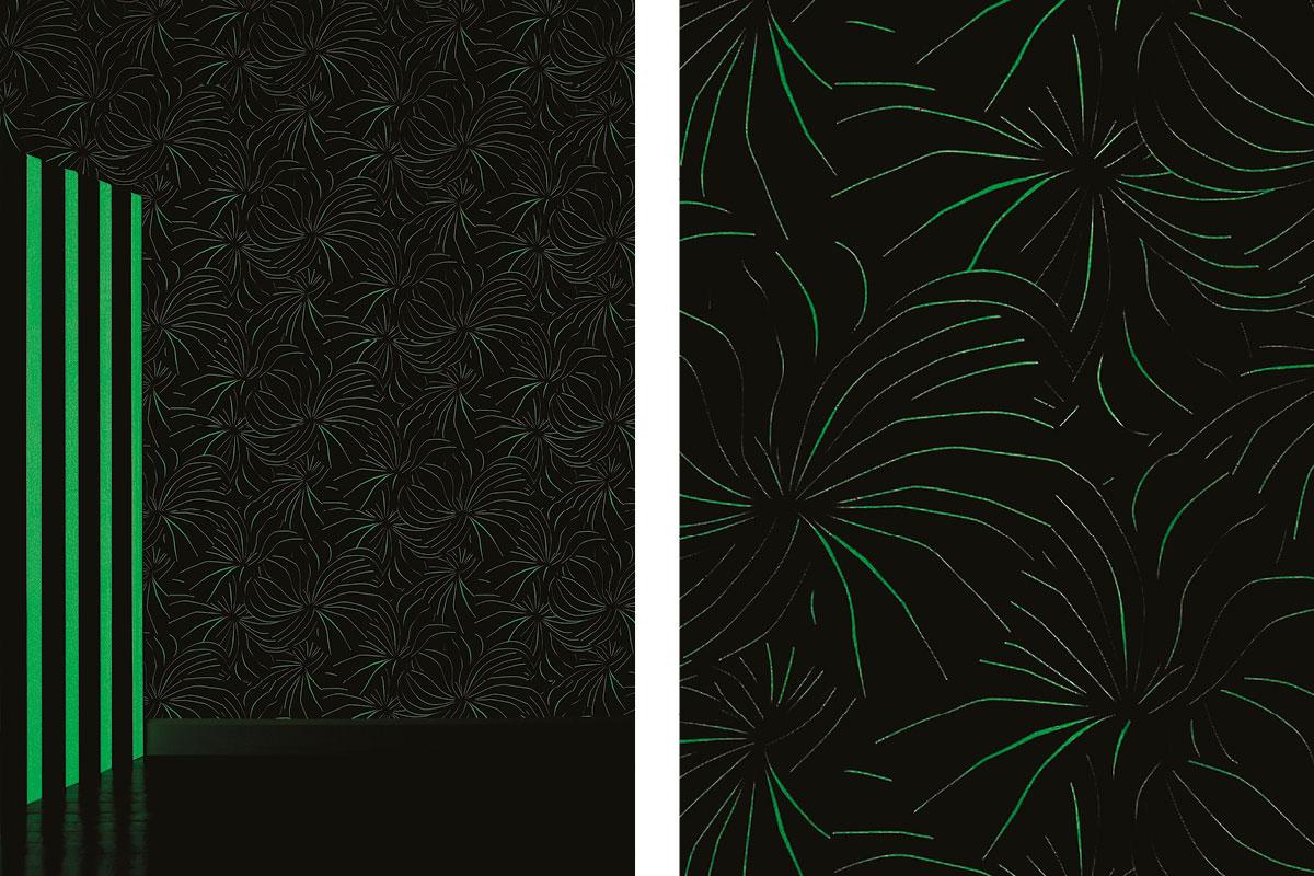 papier peint phosphowall berlingot la nuit, wallpaper phosphorescent, design ichetkar