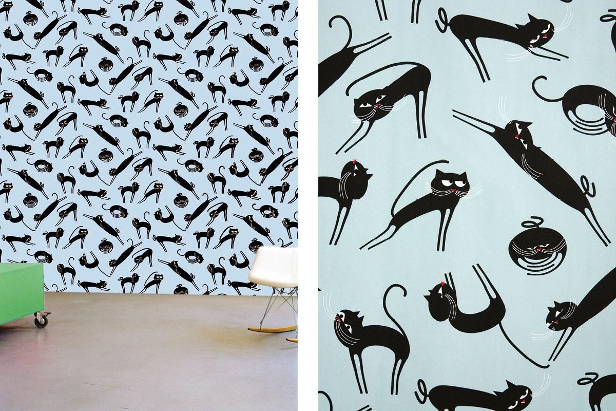 papier peint phosphowall cats le jour, wallpaper phosphorescent, design ichetkar