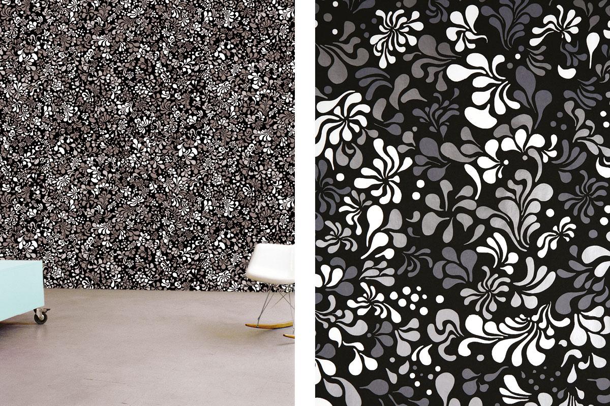 papier peint phosphowall pop flower le jour, wallpaper phosphorescent, design ichetkar