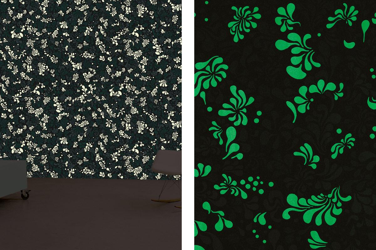 papier peint phosphowall pop flower la nuit, wallpaper phosphorescent, design ichetkar