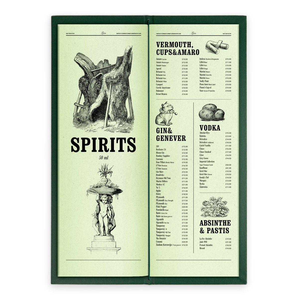 sketch london wine list glade green gravures anciennes engraving vintage punk forest spirits
