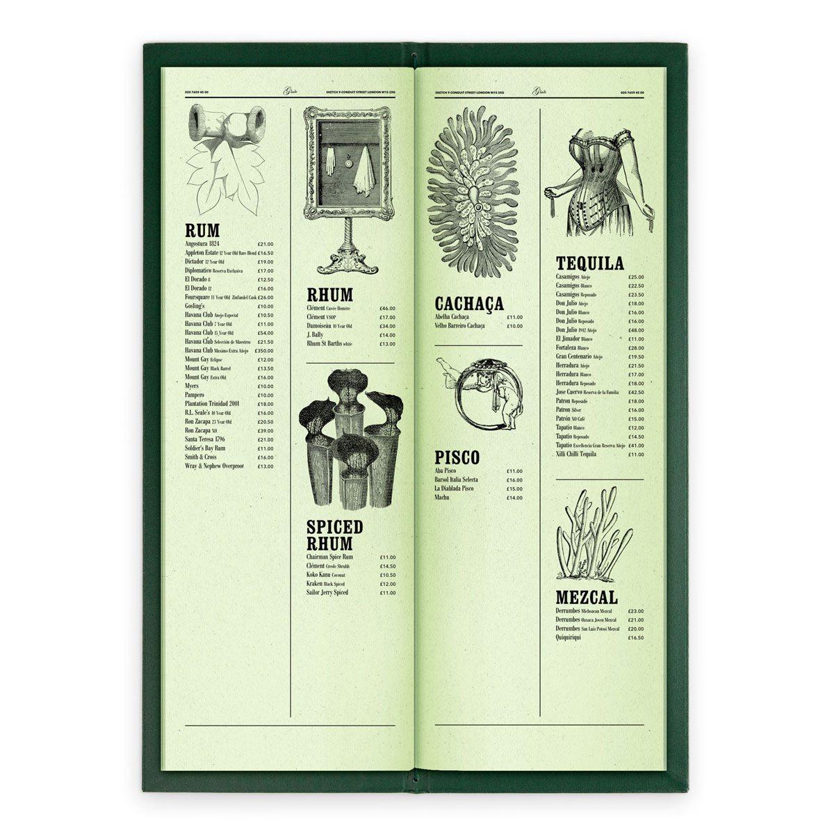sketch london wine list glade green gravures anciennes engraving vintage punk forest exotic spirits
