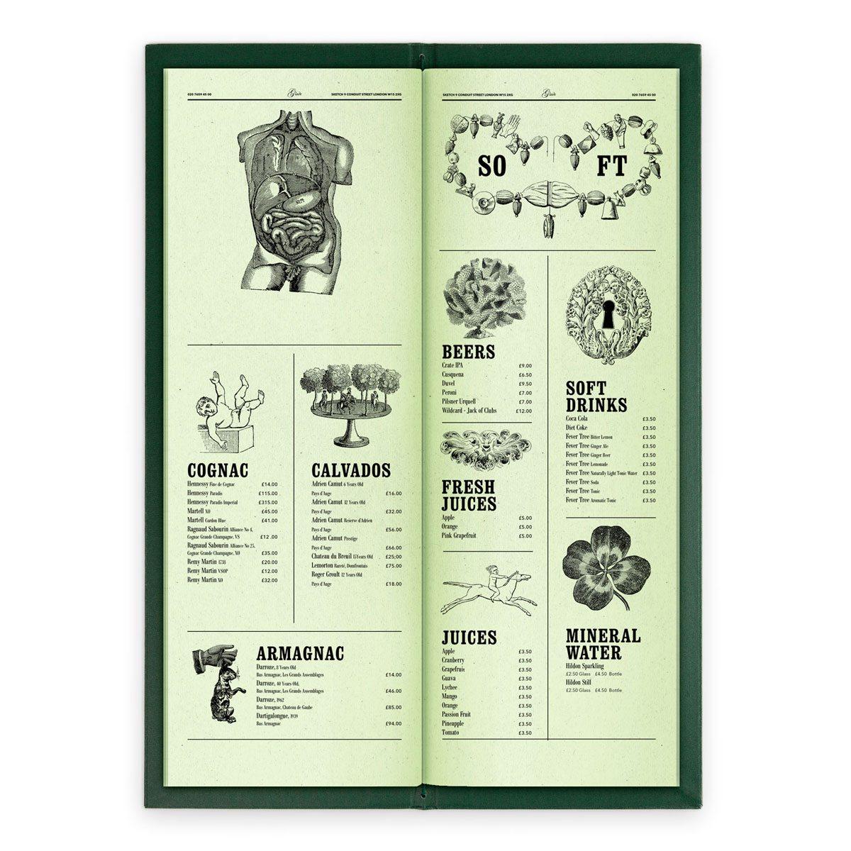 sketch london wine list glade green gravures anciennes engraving vintage punk forest spirits cognac calvados armagnac