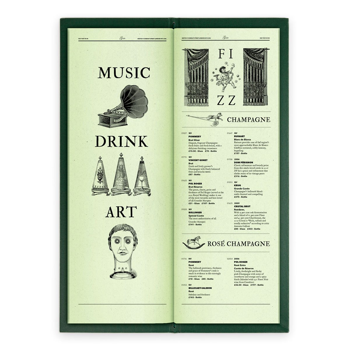 sketch london wine list glade green gravures anciennes engraving vintage punk champagne