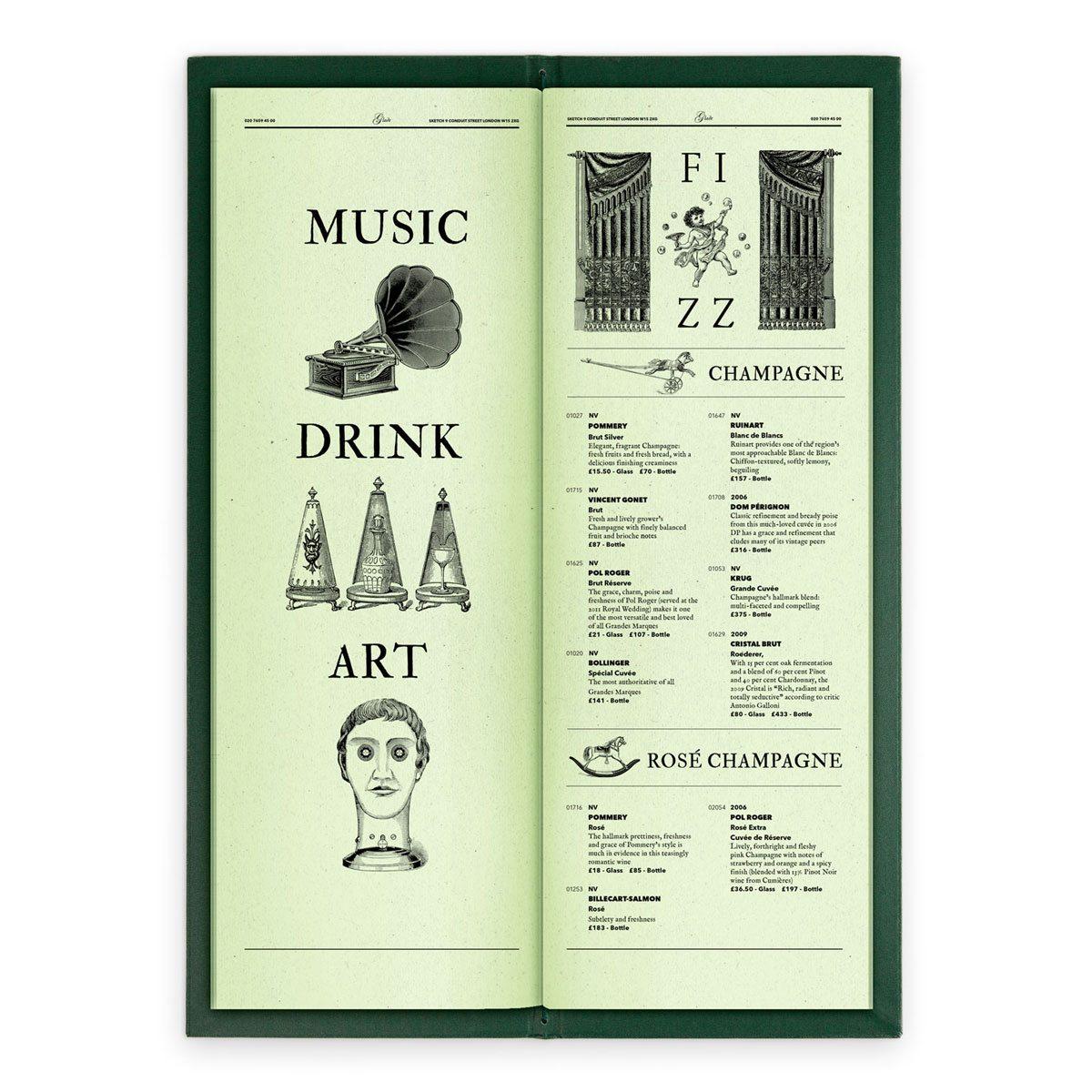 sketch london wine list glade green gravures anciennes engraving vintage punk champagne