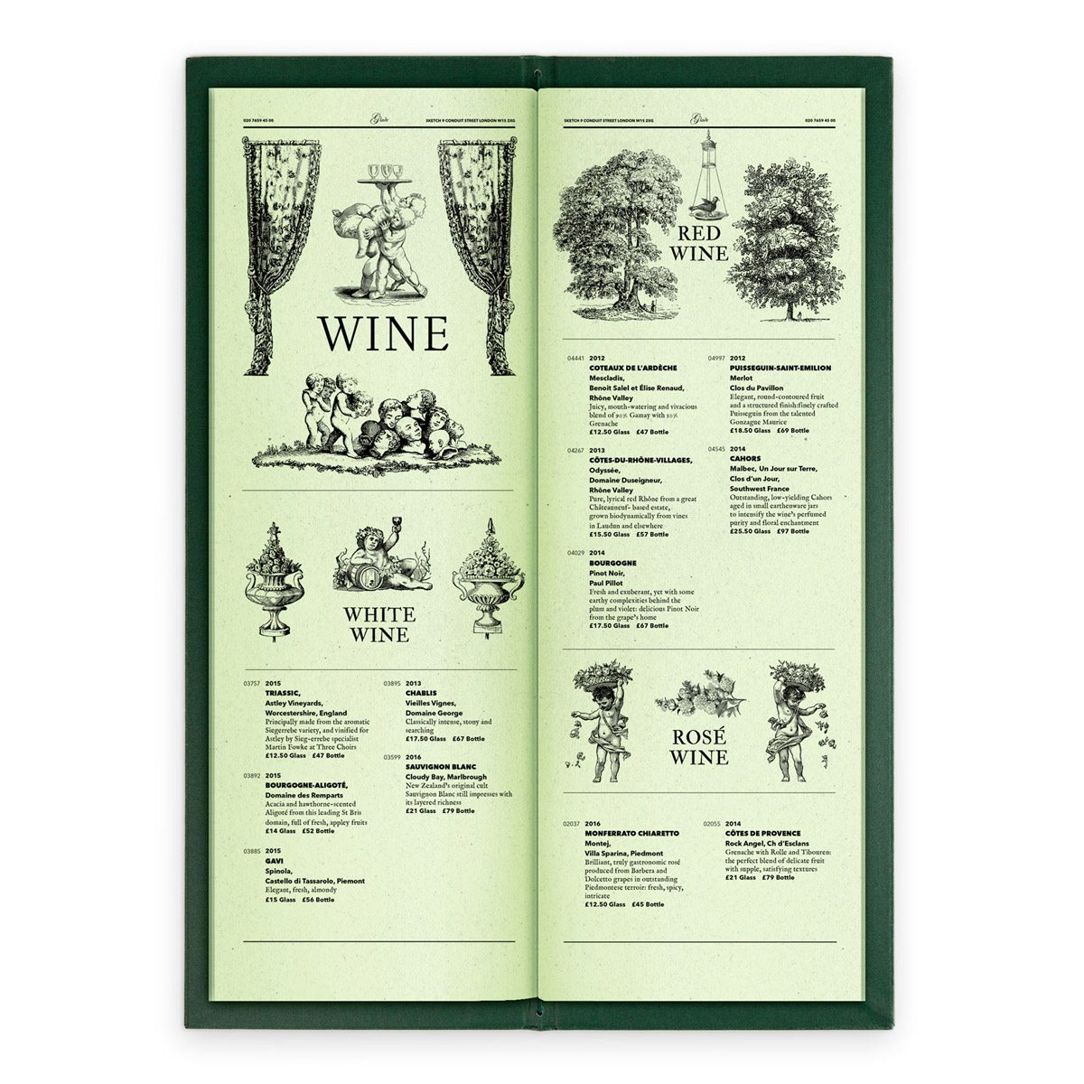 sketch london wine list glade green gravures anciennes engraving vintage punk forest wines