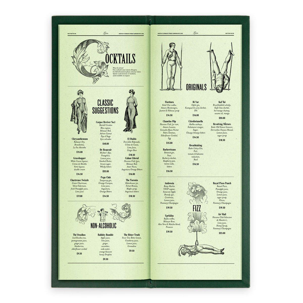 sketch london wine list glade green gravures anciennes engraving vintage punk cocktails