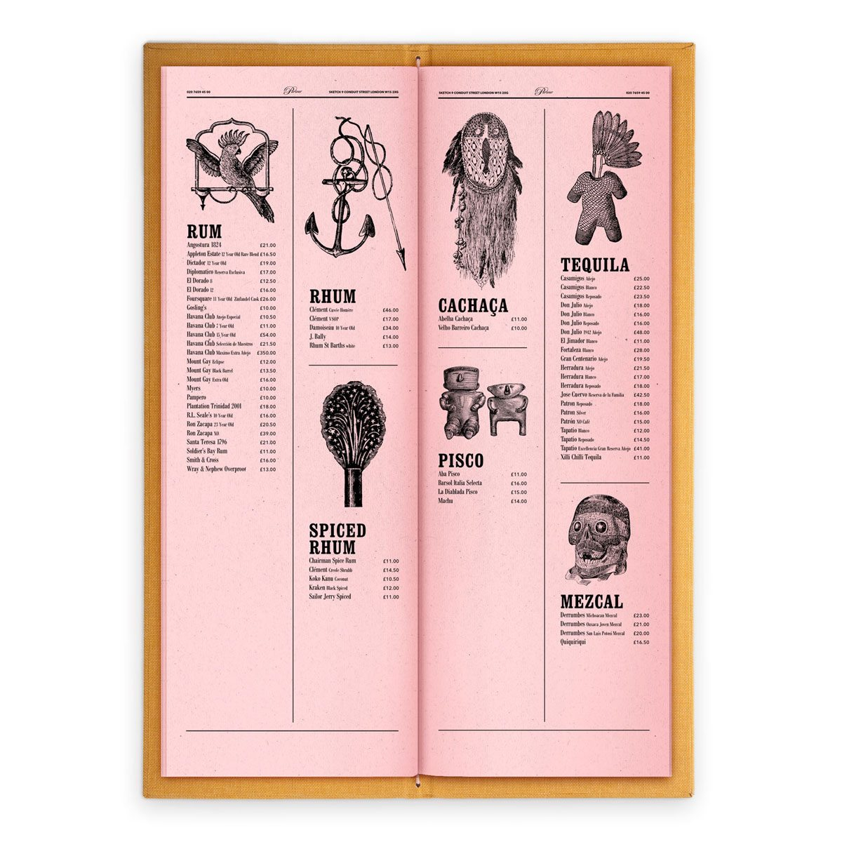 sketch london wine list parlour pink gravures anciennes engraving vintage punk voodoo spirits