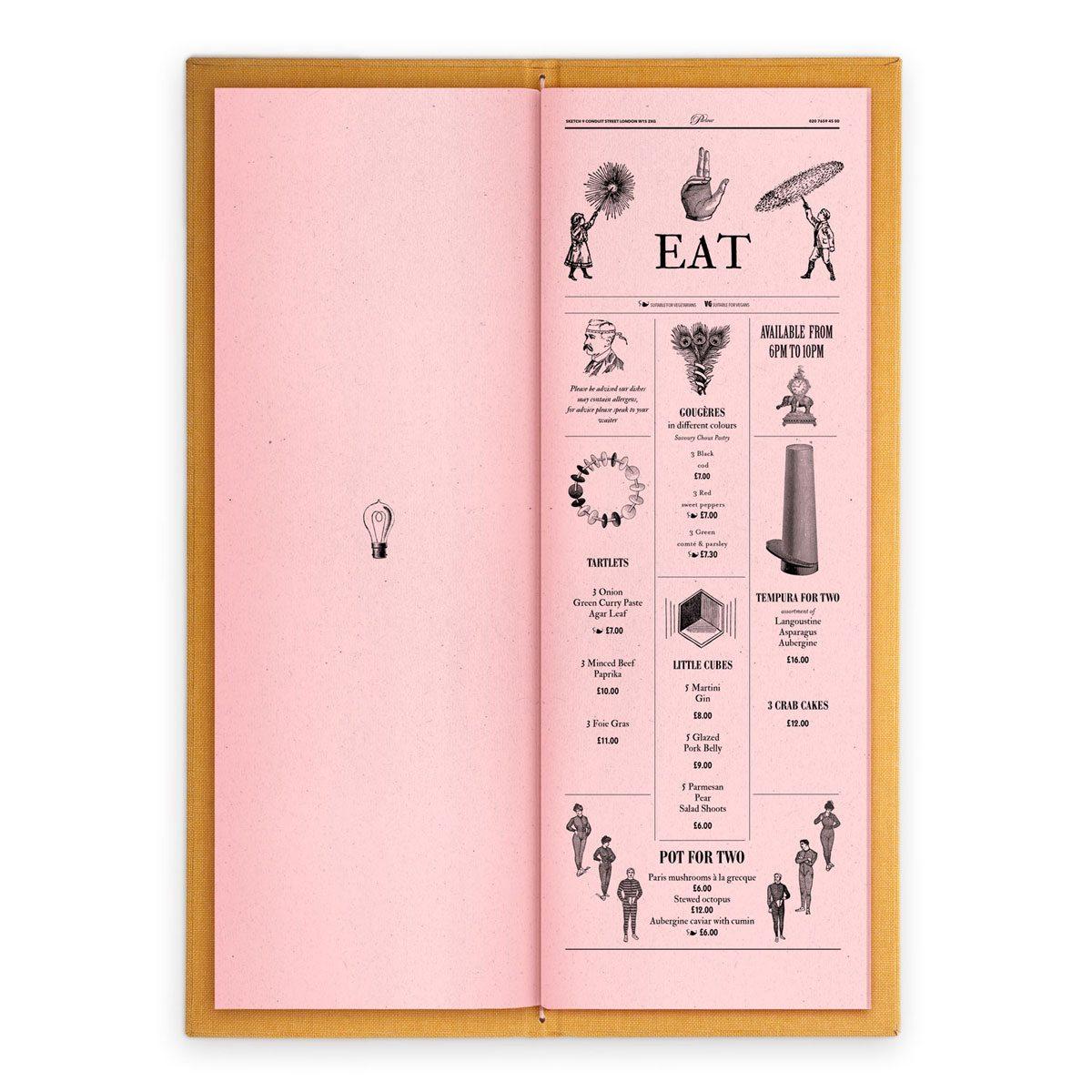 sketch london wine list parlour pink gravures anciennes engraving vintage punk eat