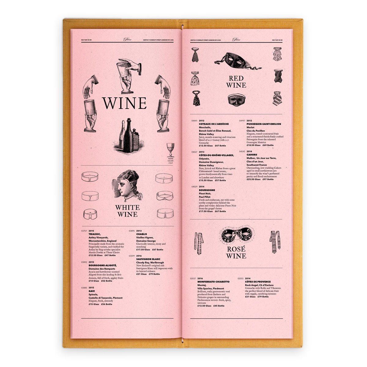 sketch london wine list parlour pink gravures anciennes engraving vintage punk wines