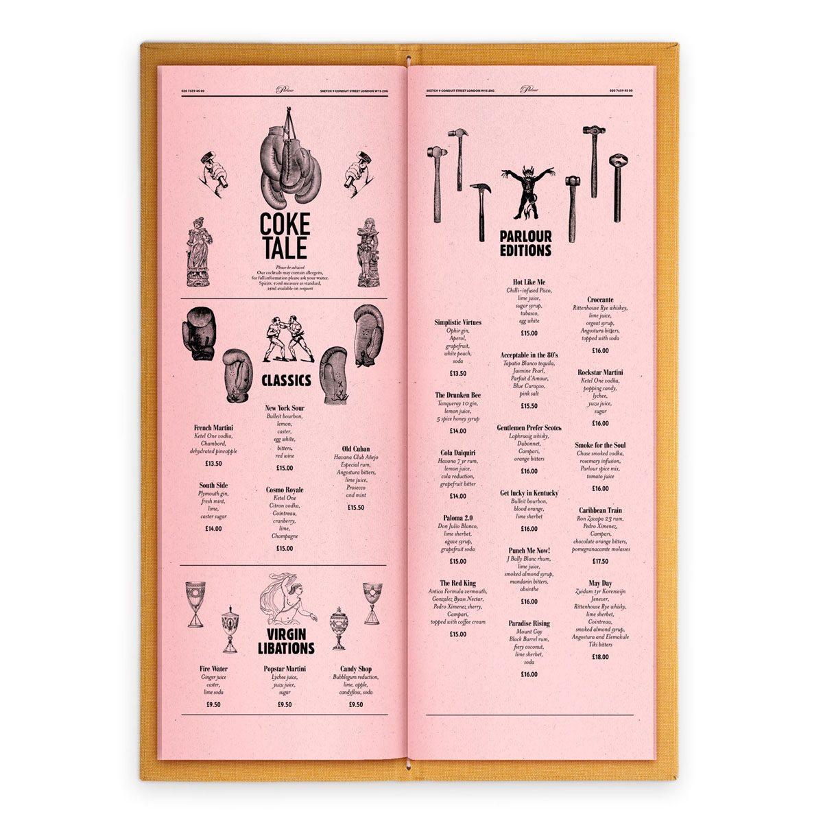 sketch london wine list parlour pink gravures anciennes engraving vintage punk cocktails