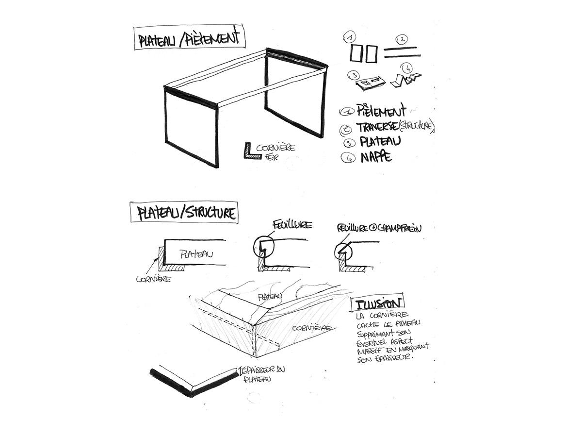 dessins techniques de la table d\'exposition d\'objets graphiques de guillaume butin pour ichetkar