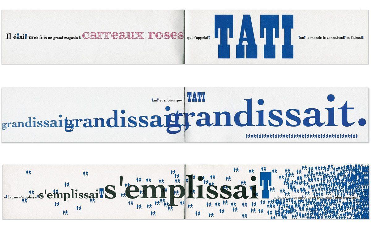 Regarder Tati, jeux de typographie expressive avec le T de Tati, en rose et bleu au couleur de la marque, design IchetKar