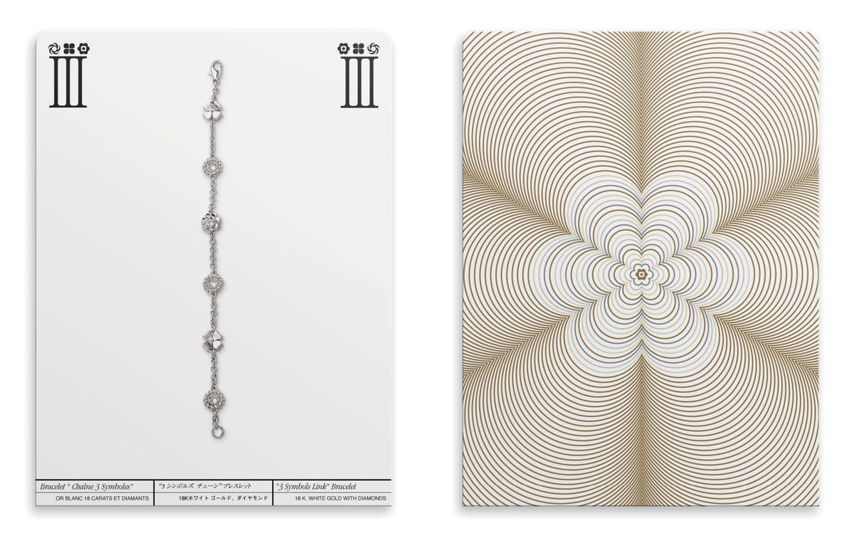 Ich&Kar dessine un dossier de presse inédit pour Chanel sous la forme de cartes à jouer. Ici, le motif du camélia revisité par Ich&Kar ainsi que la photographie du bijoux.