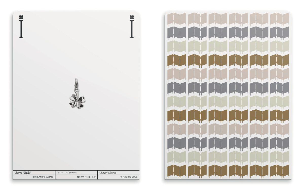 Ich&Kar dessine le dossier de presse III Symboles pour Chanel sous la forme de cartes à jouer carte charm trefle