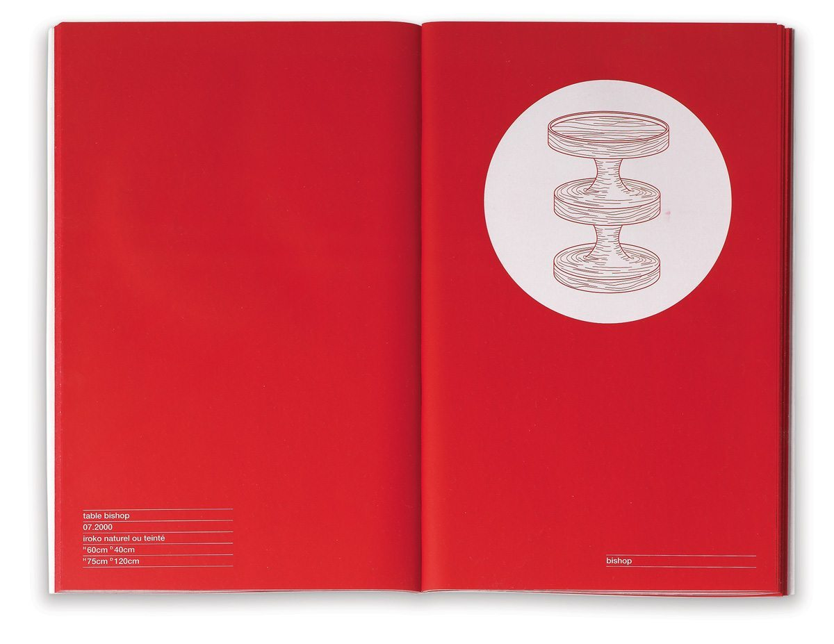 Catalogue India Mahdavi, design épuré graphique, couleur rouge, design IchetKar