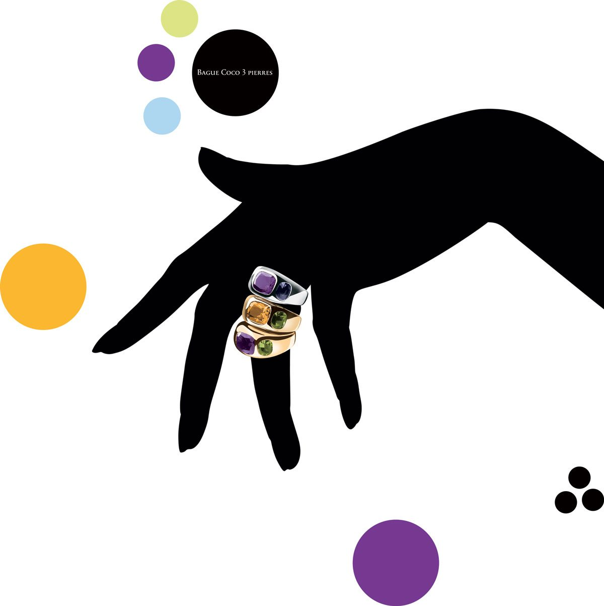 Bagues « Coco trois Pierres » sur silhouette de main noire dessinée par Ich&Kar