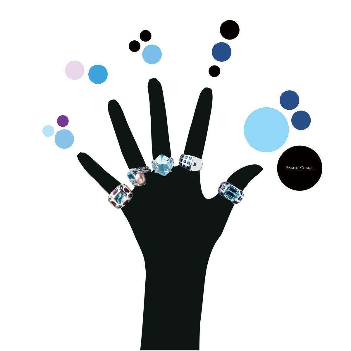 bagues chanel sur silhouette de mon noire dessinée par Ich&Kar