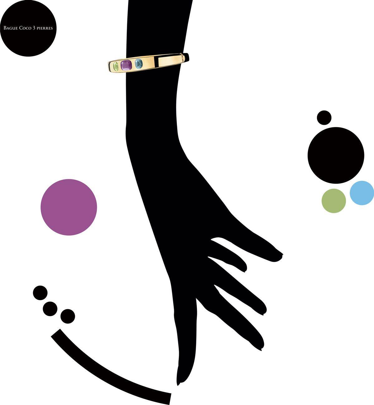 Bracelet « Coco trois Pierres » sur silhouette main noire dessiné par Ich&Kar