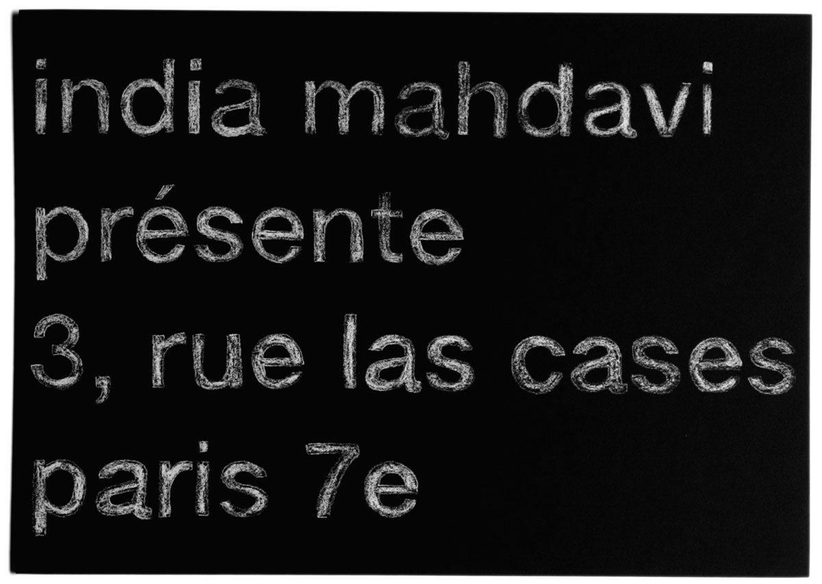 Carton d'invitation, India Mahdavi présente 3, rue las cases paris 7e, effet craie et ardoise, design IchetKar