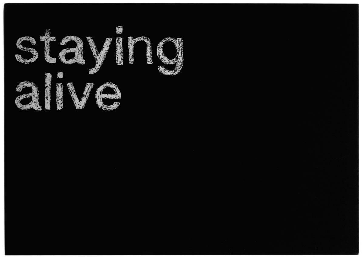 Carton d'invitation, India Mahdavi présente Staying Alive, effet craie et ardoise, design IchetKar