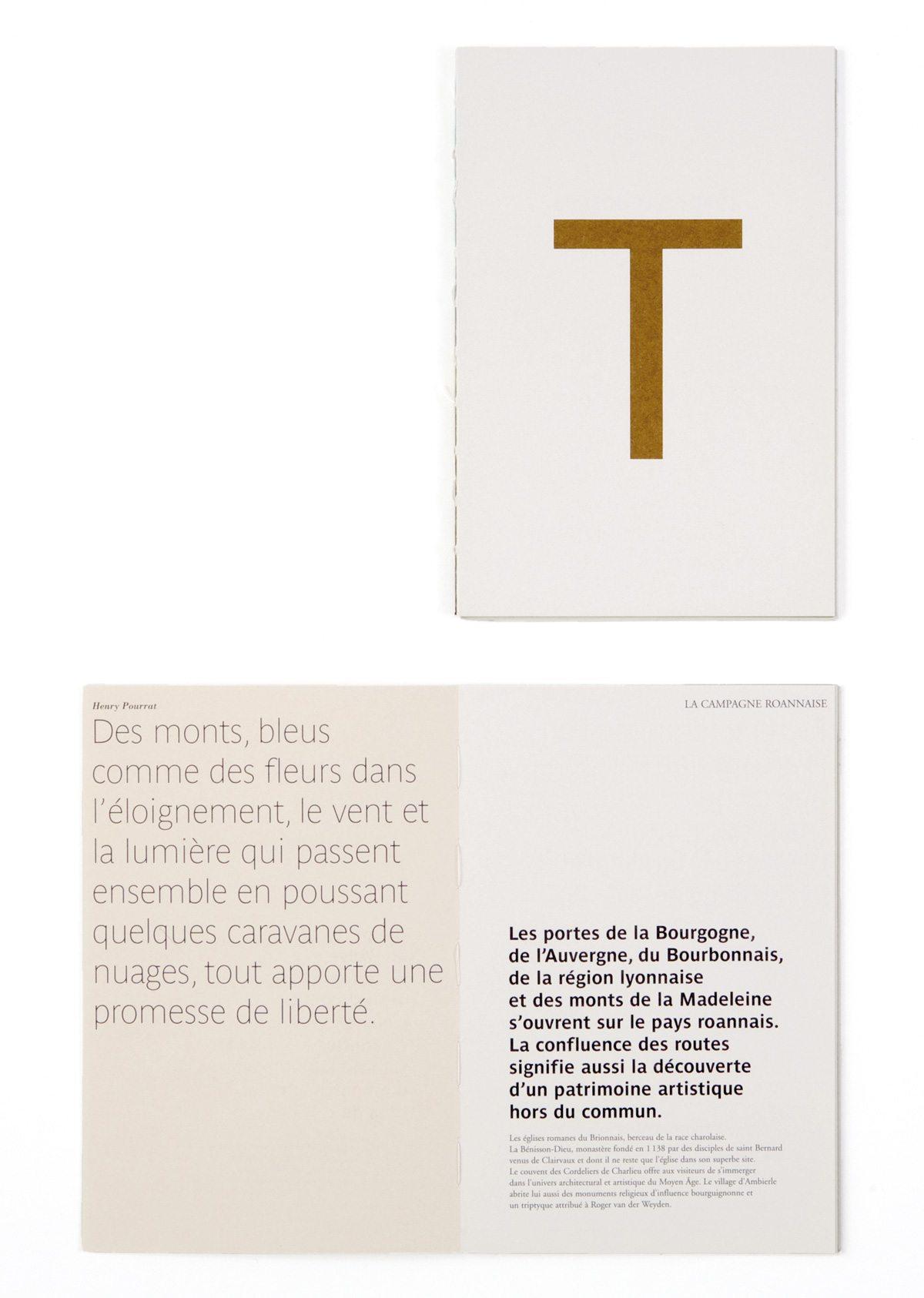 Couverture de la brochure de la Maison Troisgros, confrontation poétique d'images et de textes extraits de la littérature classique, design Ich&Kar