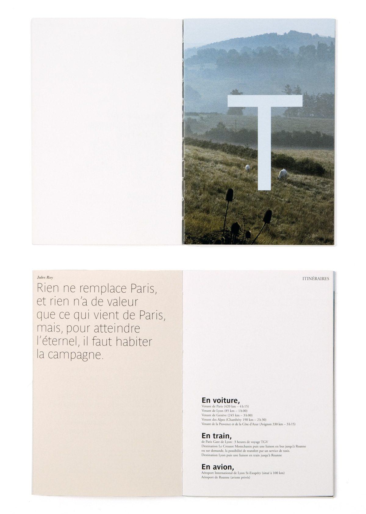 Brochure de la Maison Troisgros, confrontation poétique d'images et de textes extraits de la littérature classique, design Ich&Kar