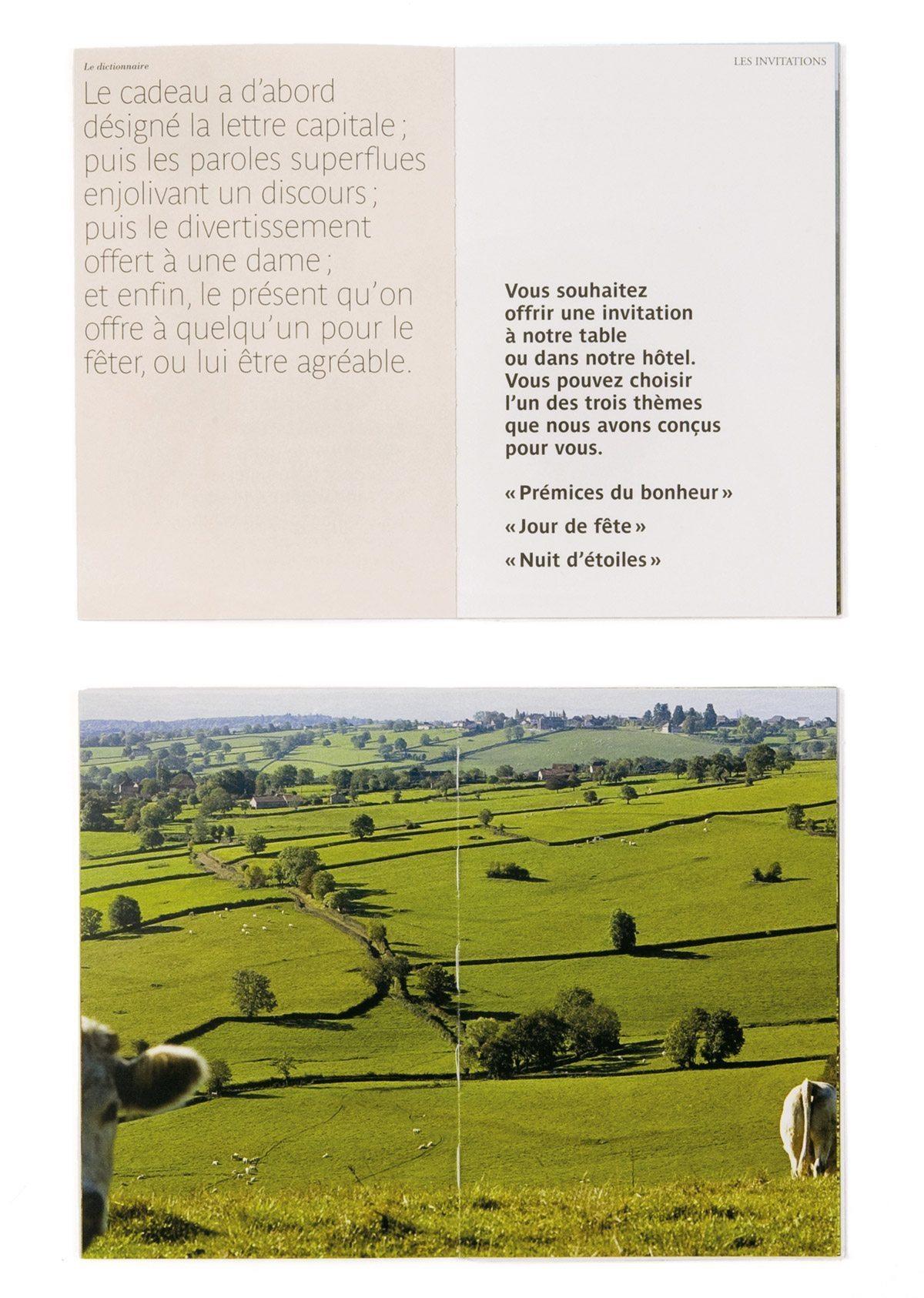 Brochure de la Maison Troisgros, confrontation poétique d'images de campagne et de textes extraits de la littérature classique, design Ich&Kar