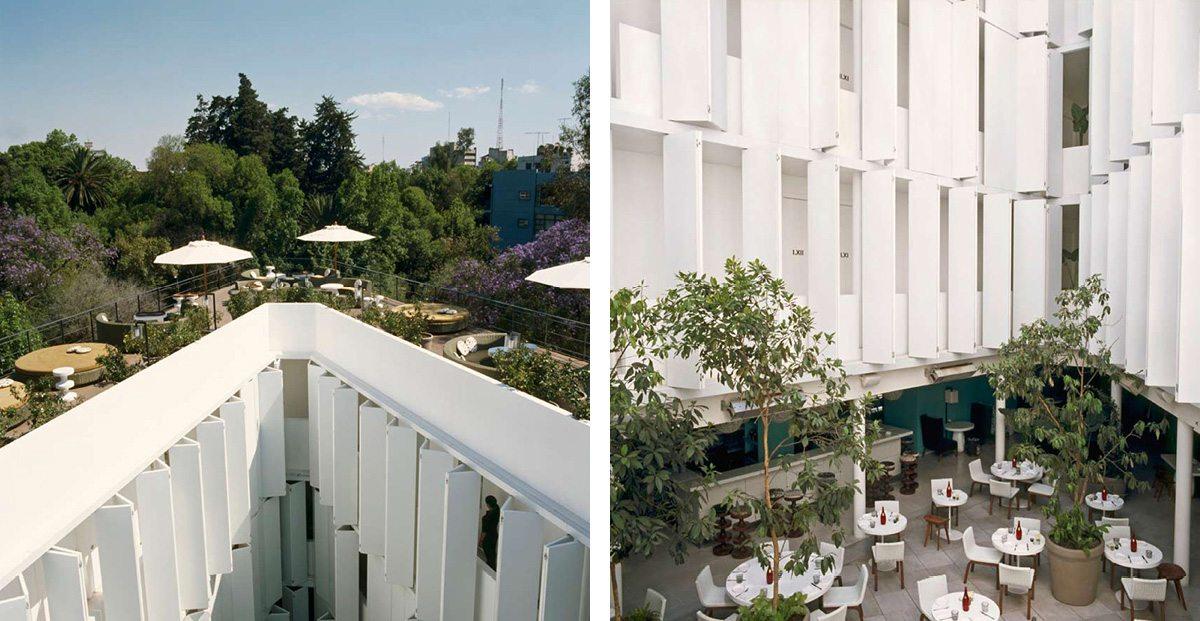 La terrasse de l'Hotel Condesa Df à Mexico,