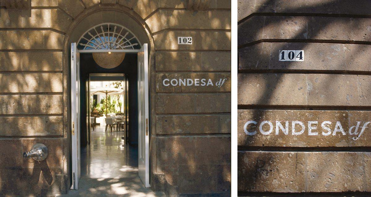 La signalétique extérieur de l'Hotel Condesa Df à Mexico, pochoir de peinture blanche, design IchetKar