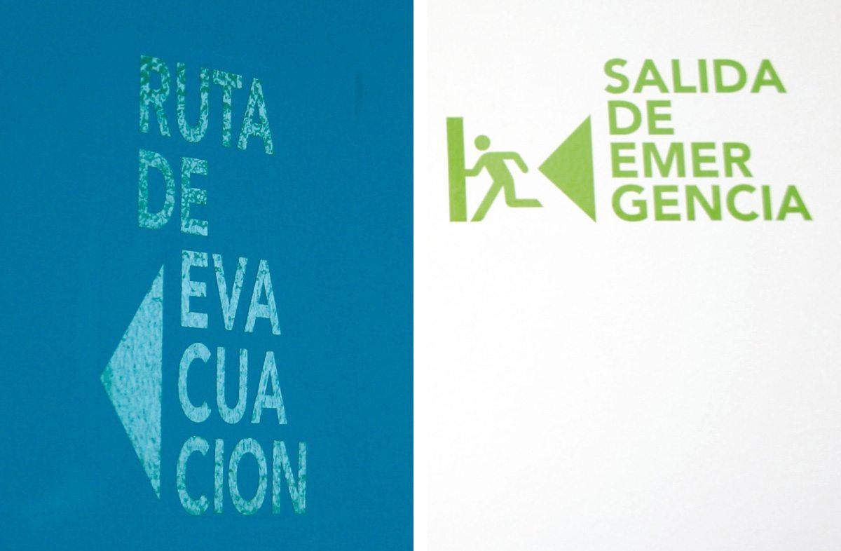 La signalétique de secours de l'Hotel Condesa Df à Mexico, design IchetKar