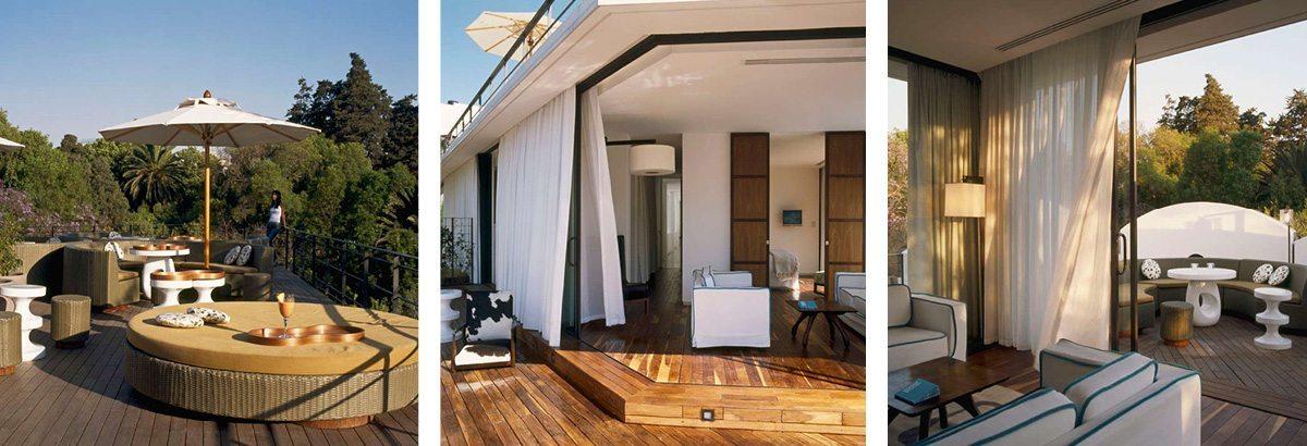 La terrasse et les chambres de l'hotel Condesa Df à Mexico, architecture d'intérieur par Indai Mahdavi