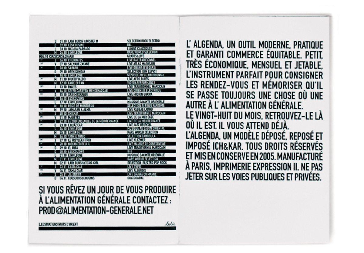 L'édito de L'Algenda l'Alimentation Generale, design IchetKar