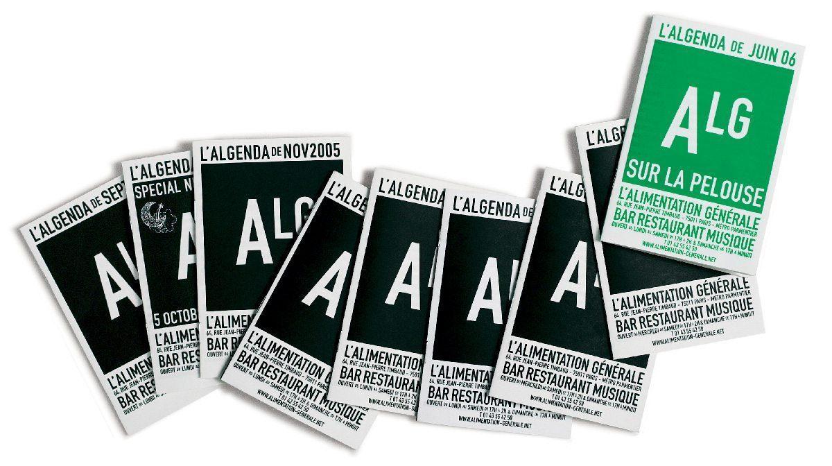 L'Algenda de l'Alimentation Generale est le programme du bar et carnet, design IchetKar