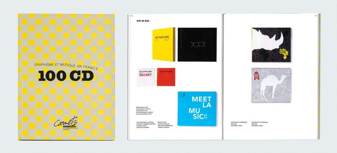 Exposition 100 CD graphisme et musique en France, avec les pochettes de Léo Férré et des compilations du Momo, design IchetKar