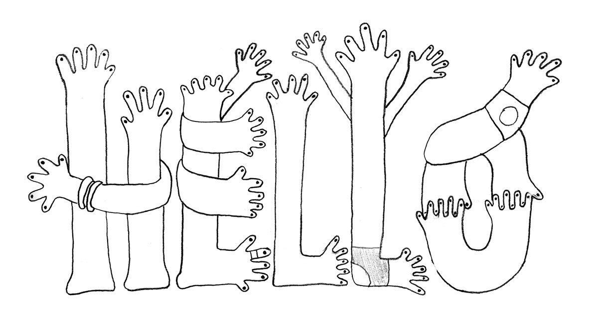 Dessin du lettrage hello composé de main, illustration, lettering et design IchetKar pour Uniqlo