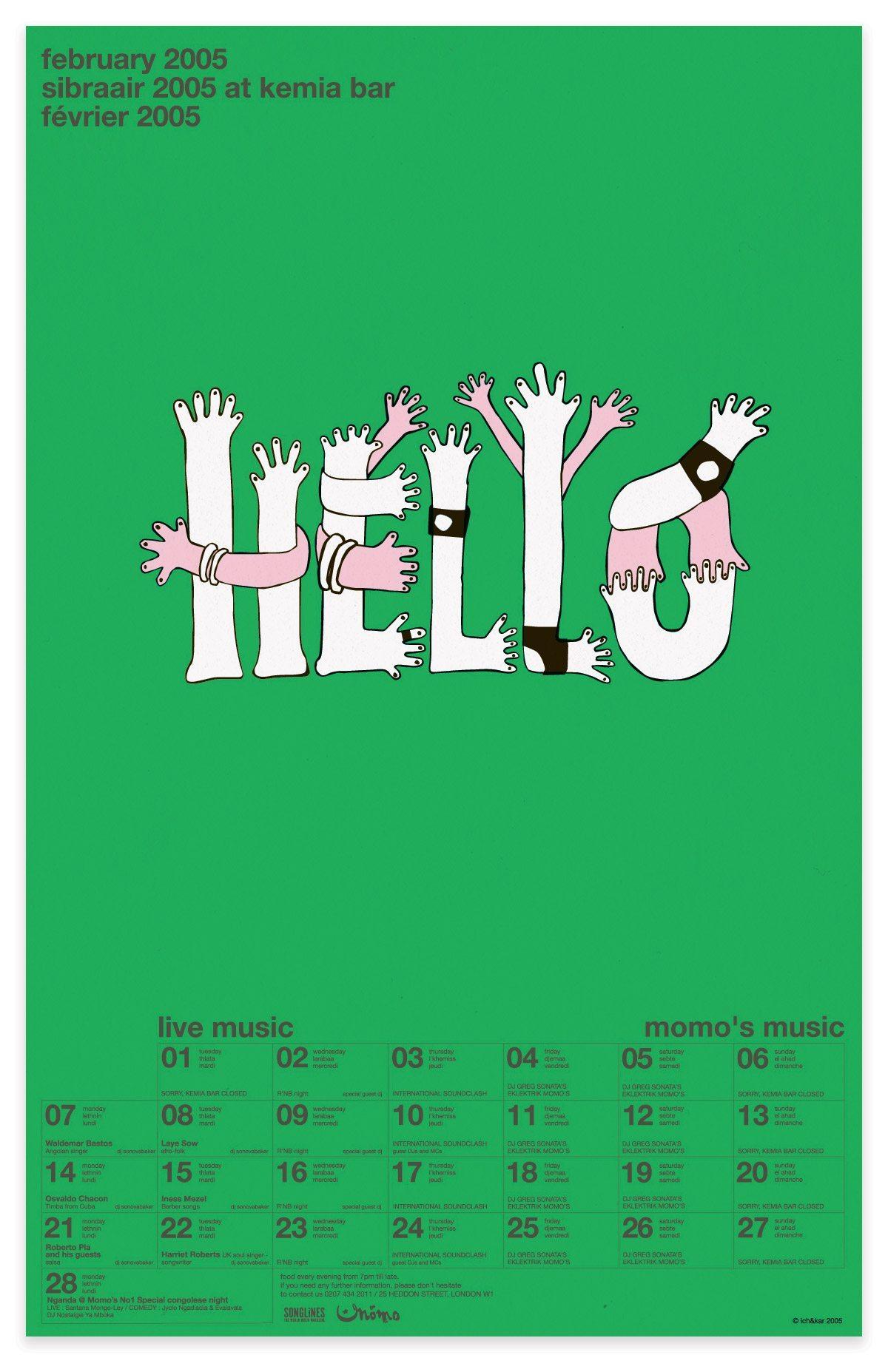poster calendrier hello pour le mono et pour Uniqlo, design IchetKar
