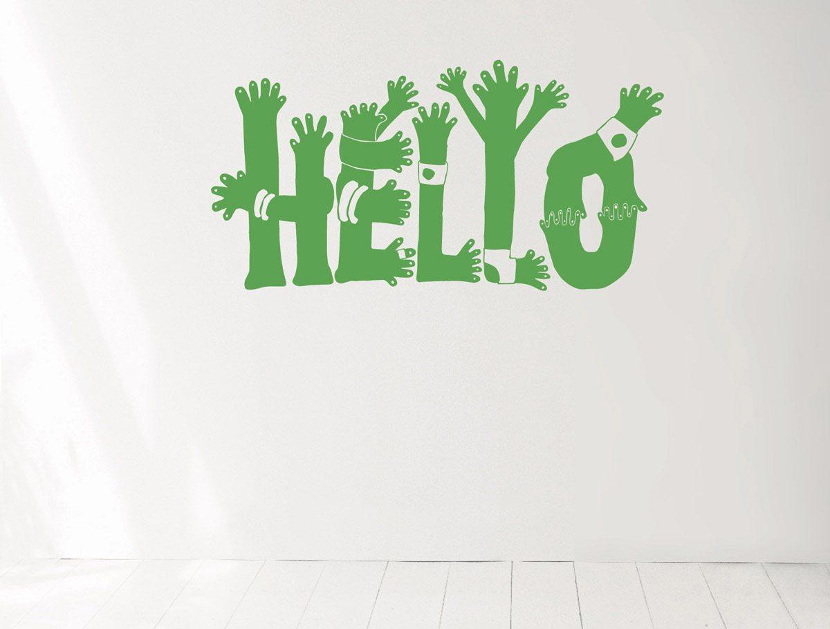 Wallsticker Hello, pour dire bonjour, design IchetKar, édition domestic